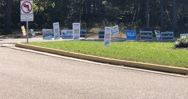 Campaign signs at a polling place in Western Chesterfield (Photo Credit: Matt Demlein/WRVA)