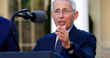 Dr. Anthony Fauci, director of the National Institute of Allergy and Infectious Diseases, speaks about the coronavirus in the Rose Garden of the White House, Monday, March 30, 2020, in Washington. (AP Photo/Alex Brandon)