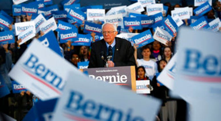 Democratic presidential candidate U.S. Sen. Bernie Sanders, I-Vt., speaks during a campaign rally at the University of Michigan in Ann Arbor, Mich., Sunday, March 8, 2020. (AP Photo/Paul Sancya)