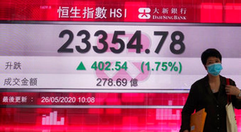 A woman wearing face mask walks past a bank electronic board showing the Hong Kong share index at Hong Kong Stock Exchange Tuesday, May 26, 2020. (AP Photo/Vincent Yu)