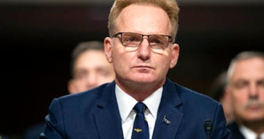 FILE - In this Dec. 3, 2019, file photo, acting Navy Secretary Thomas Modly testifies during a hearing of the Senate Armed Services Committee about about ongoing reports of substandard housing conditions, on Capitol Hill. (AP Photo/Alex Brandon, File)