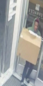 Richmond Police looking for suspect who stole an Amazon package from an apartment complex on Semmes Avenue on February 8 (Photo Credit: Richmond Police)