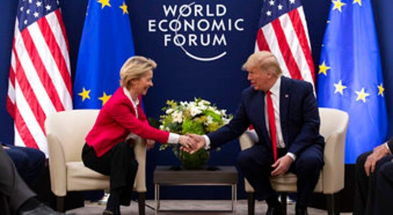 President Donald Trump meets with European Commission President Ursula von Der Leyen at the World Economic Forum, Tuesday, Jan. 21, 2020, in Davos, Switzerland. (AP Photo/ Evan Vucci)