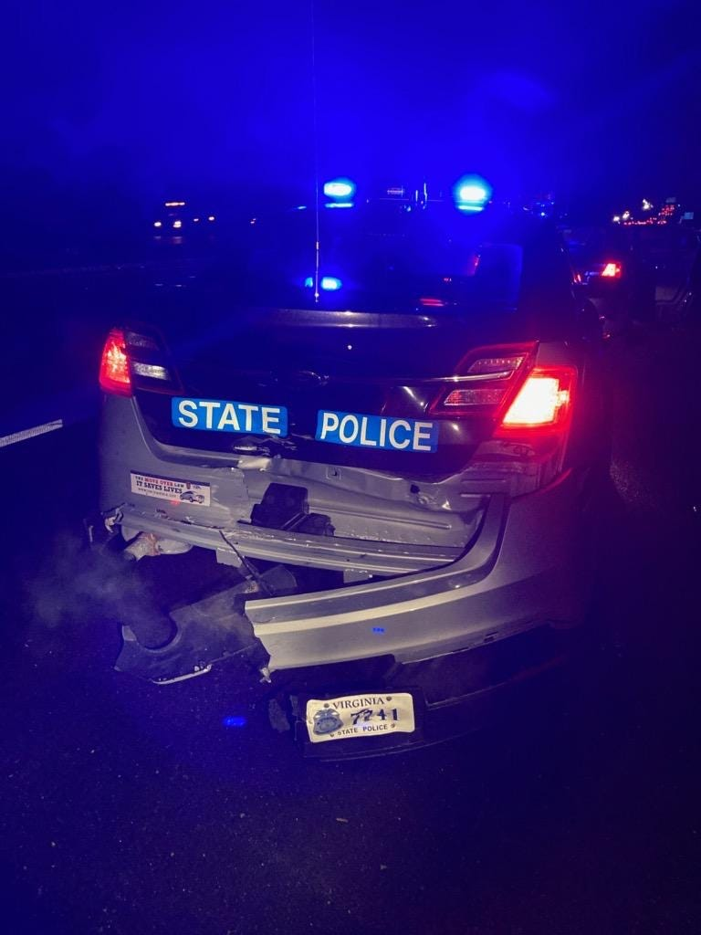 VDOT worker and State Trooper escape injury