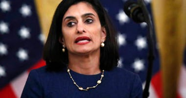 FILE - In this April 30, 2020 file photo Administrator of the Centers for Medicare and Medicaid Services Seema Verma speaks about protecting seniors, in the East Room of the White House in Washington. (AP Photo/Alex Brandon, file)