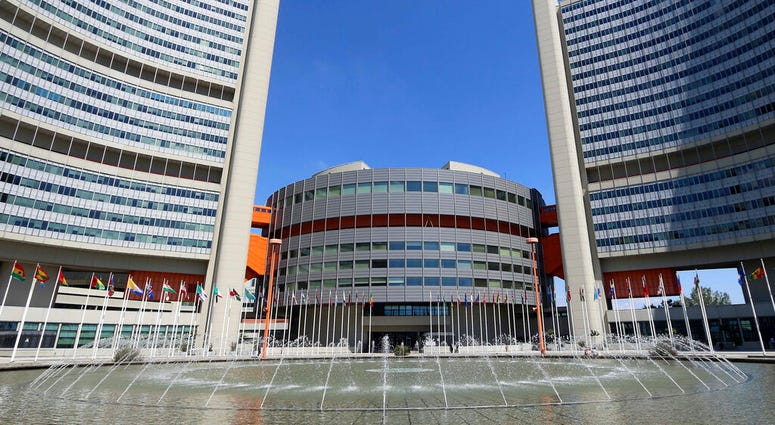 FILE - In this June 18, 2014, file photo flags fly outside the United Nations building in Vienna, Austria. (AP Photo/Ronald Zak, File)