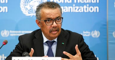 FILE - In this Feb. 24 file photo, Tedros Adhanom Ghebreyesus, Director General of the World Health Organization, addresses a press conference about the update on COVID-19 at the WHO headquarters. (Salvatore Di Nolfi/Keystone via AP, File)