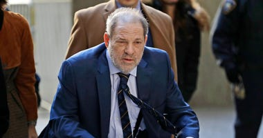 Harvey Weinstein arrives at a Manhattan courthouse for his rape trial in New York, Friday, Feb. 14, 2020. (AP Photo/Seth Wenig)