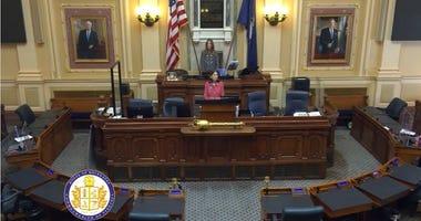 House Speaker Eileen Filler-Corn (D-Fairfax) presides over an Empty House of Delagates (House Feed)