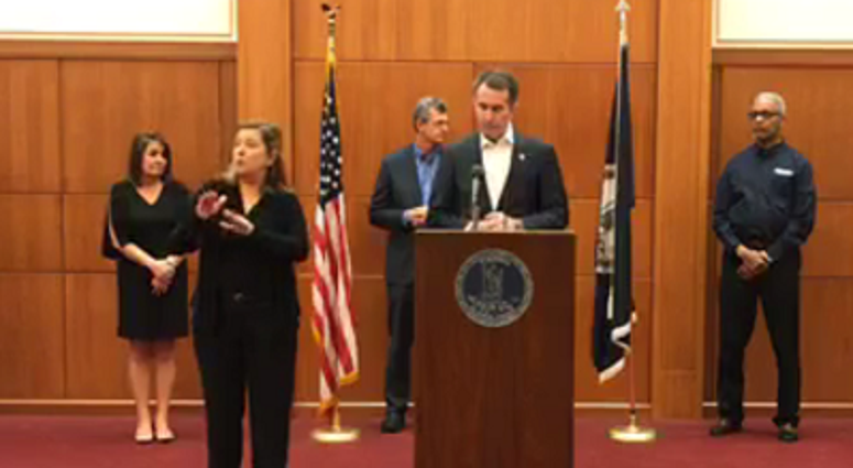 Governor Ralph Northam provides an update on coronavirus efforts on March 19, 2020.  (Governor's Facebook Page)