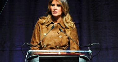 First lady Melania Trump speaks at the B'More Youth Summit, Tuesday, Nov. 26, in Baltimore. The first lady urged students to avoid misusing drugs, saying that it would make it harder for them to achieve. (Barbara Haddock Taylor/The Baltimore Sun via AP)
