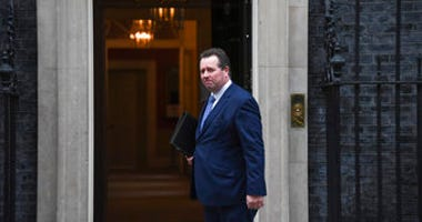 Britain's government Chief Whip Mark Spencer arrives at 10 Downing Street, in London, Monday, Dec. 16, 2019.(AP Photo/Alberto Pezzali)