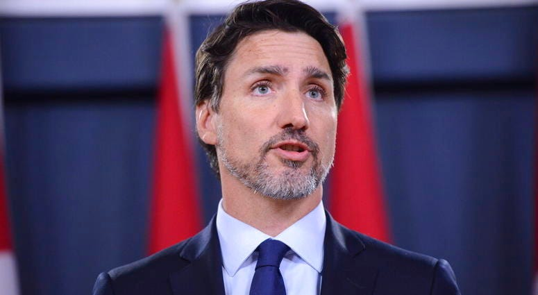 Prime Minister Justin Trudeau holds a news conference in Ottawa on Wednesday, Jan. 8, 2020. (Sean Kilpatrick/The Canadian Press via AP)