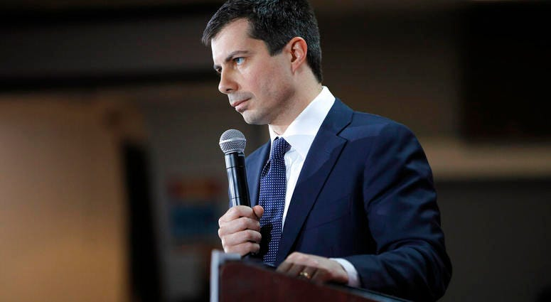 Democratic presidential candidate South Bend Mayor Pete Buttigieg speaks at a culinary workers union hall Saturday, Jan. 11, 2020, in Las Vegas. (AP Photo/John Locher)