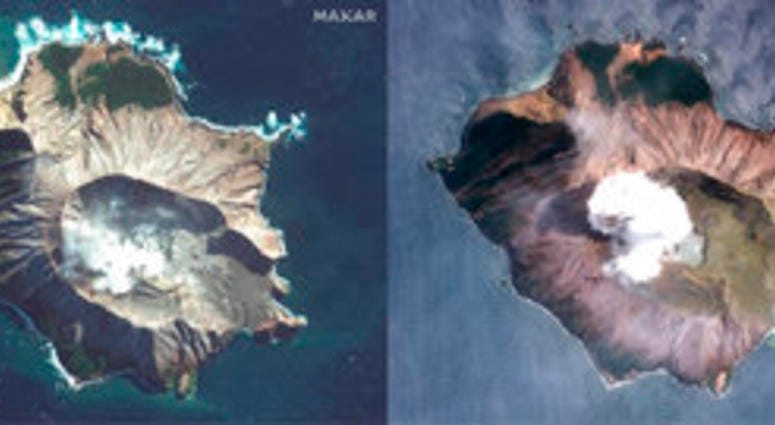 In this combo made from two satellite images taken May 12, 2019, left, and Dec. 11, 2019, right, by Maxar Technologies steam rises from the volcano on White Island off the coast of Whakatane, New Zealand.  (Satellite image ©2019 Maxar Technologies via AP)
