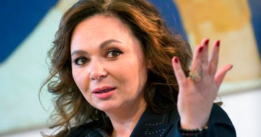 FILE - In this April 22, 2018 file photo, Russian lawyer Natalia Veselnitskaya speaks during an interview with The Associated Press in Moscow.   (AP Photo/Dmitry Serebryakov, File)