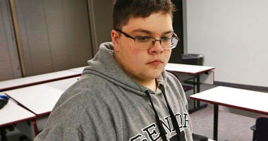 FILE - In this Monday, March 6, 2017, file photo, Gloucester County High School senior Gavin Grimm, a transgender student, arrives for a news conference in Richmond, Va. (AP Photo/Steve Helber, File)