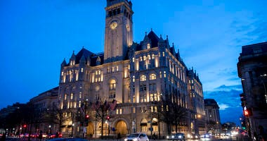 FILE - In this Jan. 23, 2019, file photo, the Trump International Hotel near sunset in Washington. (AP Photo/Alex Brandon, File)