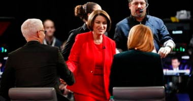Democratic presidential candidate Sen. Amy Klobuchar, D-Minn., prepares to be interviewed in the spin room Tuesday, Jan. 14, 2020, after a Democratic presidential primary debate. (AP Photo/Charlie Neibergall)