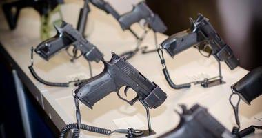 Hand guns on display