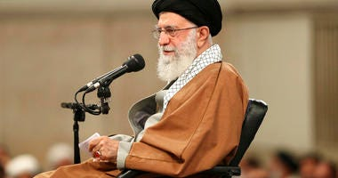 In this picture released by the official website of the office of the Iranian supreme leader, Supreme Leader Ayatollah Ali Khamenei speaks in a meeting in Iran, Wednesday, Nov. 27, 2019. (Office of the Iranian Supreme Leader via AP)