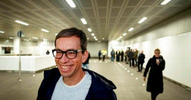 German Jens Soering smiles after his arrival at the Frankfurt Airport in Frankfurt, Germany, Tuesday, Dec. 17, 2019.  (AP Photo/Michael Probst)