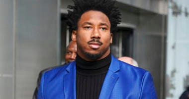 Cleveland Browns star defensive end Myles Garrett leaves an office building in New York, Wednesday, Nov. 20, 2019. (AP Photo/Seth Wenig)