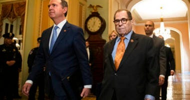 House Intelligence Committee Chairman Adam Schiff, D-Calif., front left, and House Judiciary Committee Chairman, Rep. Jerrold Nadler, D-N.Y., and other House impeachment managers, walk to the Senate chamber. (AP Photo/Matt Rourke)