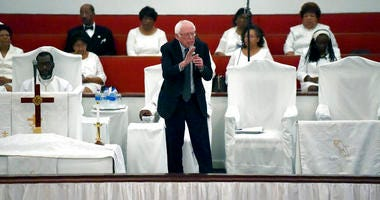 Democratic presidential hopeful Bernie Sanders speaks to a congregation at Reid Chapel AME Church on Sunday, Dec. 1, 2019, in Columbia, S.C. (AP Photo/Meg Kinnard)