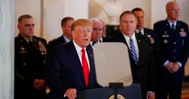 President Donald Trump addresses the nation from the White House on the ballistic missile strike that Iran launched against Iraqi air bases housing U.S. troops, Wednesday, Jan. 8, 2020. (AP Photo/Alex Brandon)