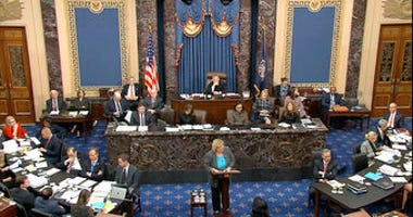 In this image from video, House impeachment manager Rep. Zoe Lofgren, D-Calif., speaks during the impeachment trial against President Donald Trump in the Senate at the U.S. Capitol in Washington, Thursday, Jan. 23, 2020. (Senate Television via AP)