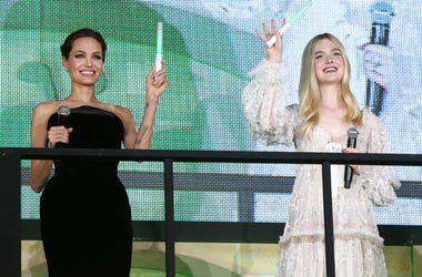 "Angelina Jolie and Elle Fanning attend ""Maleficent"" Japan premiere at Ebisu Garden Place on June 23, 2014"