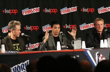 Martin Kove, Ralph Macchio and William Zabka attend 'The Karate Kid' 30th Anniversary Panel at 2014 New York Comic Con