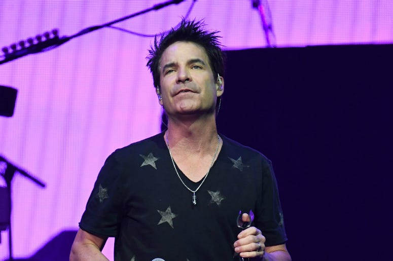 June 24, 2018; Sunrise, FL, USA; Patrick Monahan of Train performs at BB&T Center.