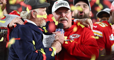 Andy Reid celebrating Super Bowl win.