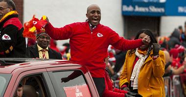 Quinton Lucas celebrating Chiefs Super Bowl win