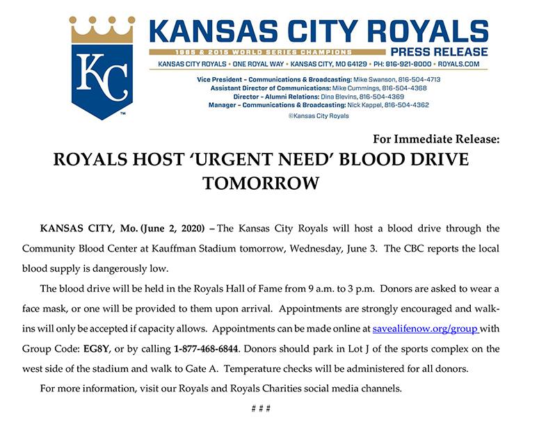 Royals Blood Drive Press Release