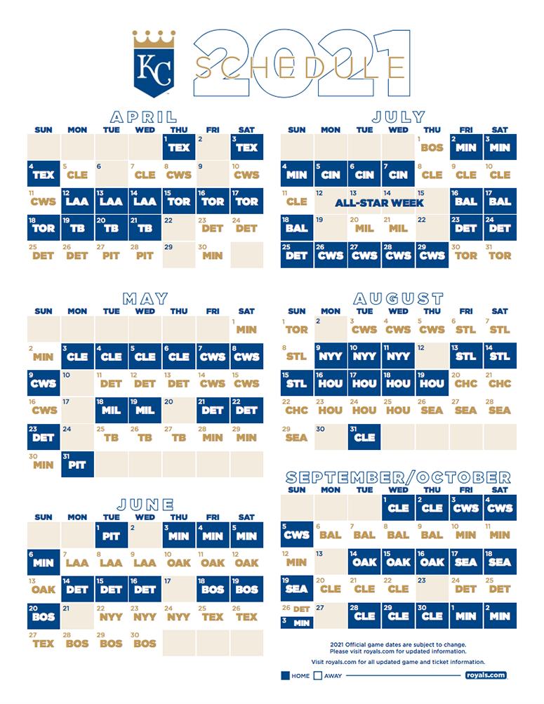 Kansas City Royals 2021 Season Schedule