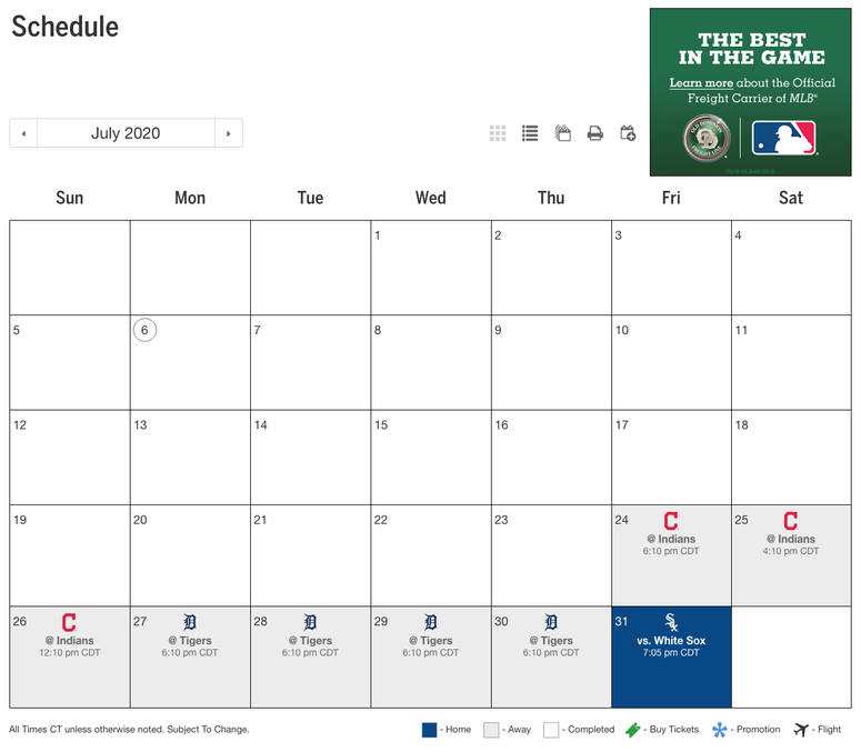 Royals July Schedule