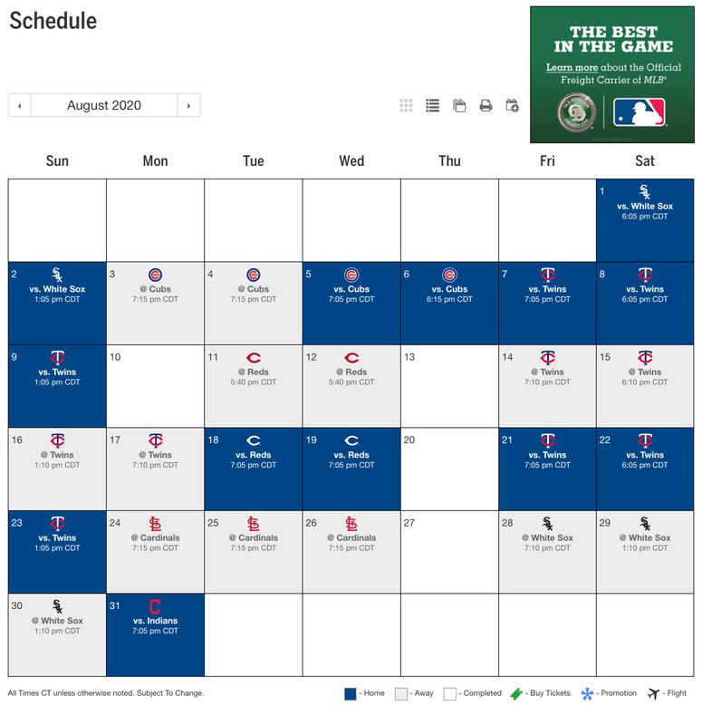 Royals August Schedule