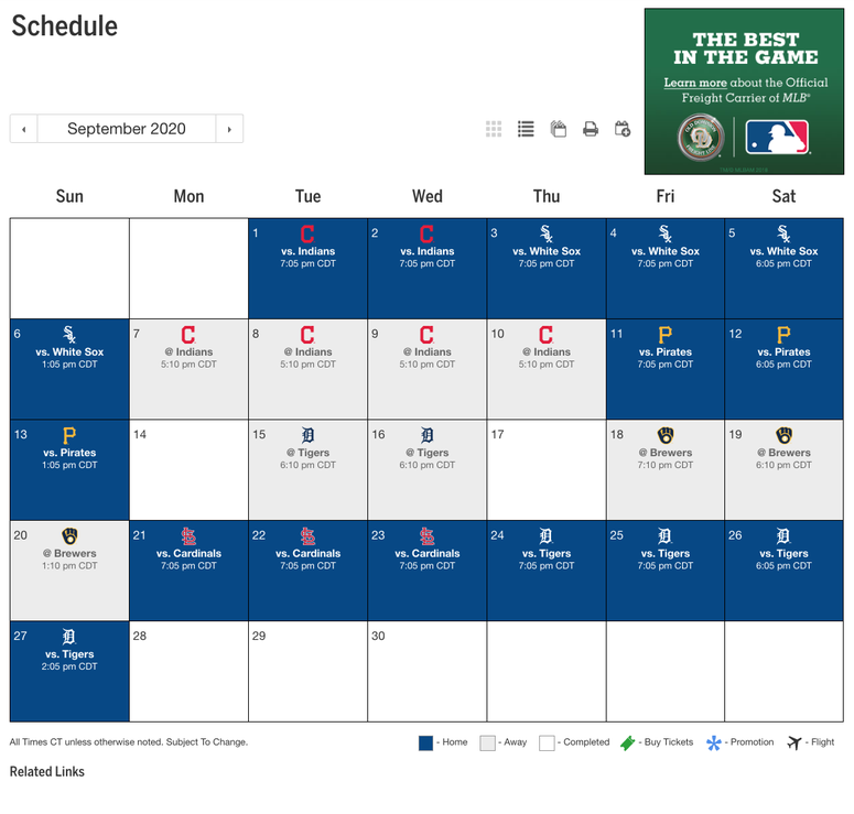 Royals September Schedule