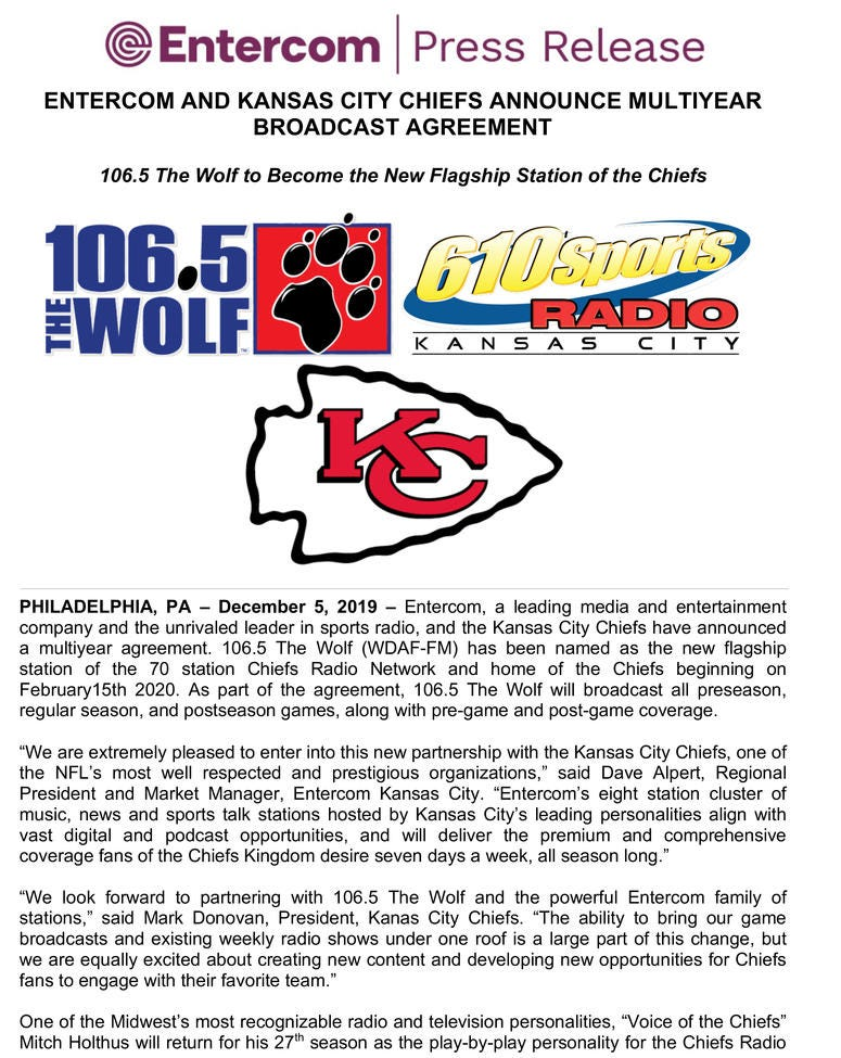 ENTERCOM AND KANSAS CITY CHIEFS AGREE TO MULTIYEAR CONTRACT