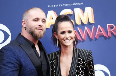 Brantley Gilbert (L) and Amber Cochran attend the 53rd Academy of Country Music Awards at MGM Grand Garden Arena on April 15, 2018 in Las Vegas, Nevada
