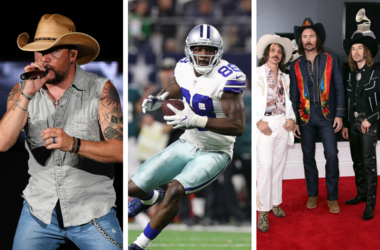Jason Aldean performs at the Coral Sky Amphitheatre / Dallas Cowboys wide receiver Dez Bryant (88) runs after a reception in the fourth quarter against the Philadelphia Eagles at AT&T Stadium / Midland arrives at the 60th Annual Grammy Awards