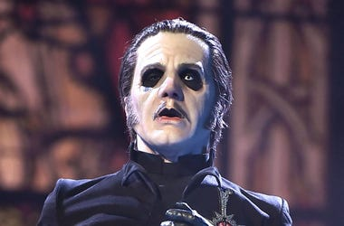 Tobias Forge performing as Cardinal Copia of the band Ghost at Barclays Center on December 15, 2018