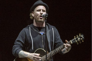 Recording artist Corey Taylor (of the bands Slipknot and Stone Sour) pays tribute to the late Chris Cornell during the closing of the Rock on the Range Festival at Mapfre Stadium.