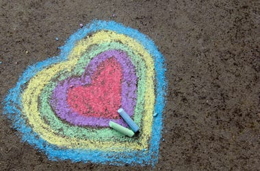 Sidewalk Chalk footage of street of hearts