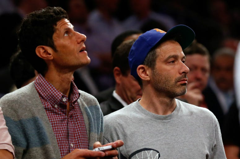 Mike D and Adam Horovitz of the Beastie Boys during game five in the second round of the 2013 NBA Playoffs