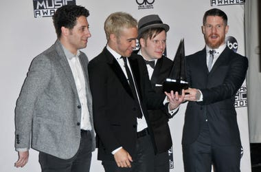 Fall Out Boy - Joe Trohman, Pete Wentz, Patrick Stump and Andy Hurley backstage at the 2015 American Music Awards