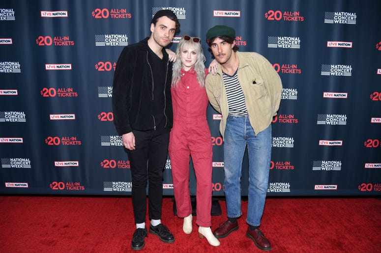 Taylor York, Hayley Williams, and Zac Farro of Paramore attend Live Nation's celebration of the 4th annual National Concert Week at Live Nation on April 30, 2018 in New York City